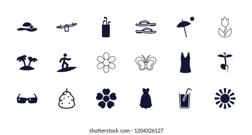 Summer icon. collection of 18 summer filled and outline icons such as golf putter, sprout, dress, palm, berry, swing, flip flops. editable summer icons for web and mobile.
