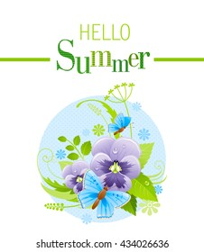 Summer icon with nature elements - viola flower, green grass, leafs, butterfly on blue background