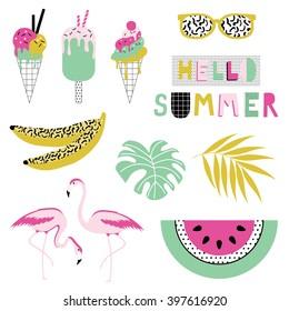 Summer icon set. Vector illustration