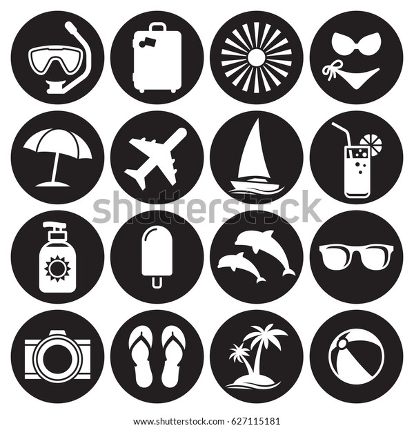 summer icon set white on black stock vector royalty free 627115181 https www shutterstock com image vector summer icon set white on black 627115181