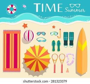 Summer icon sun elemnts on vacation illustration set