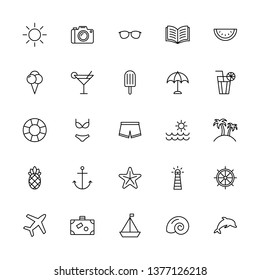 summer icons black thin line set on white background