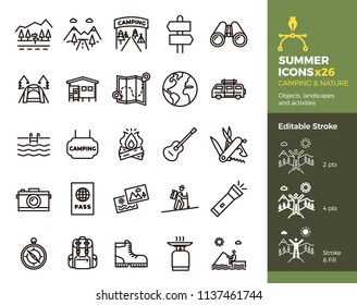 Summer icons, Camping and Nature. Objects, landscapes and activities. Vector thin line illustration. Editable stroke, easily editable. Vacation in mountains, adventure outdoors, traveling.