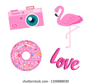 Summer icons. flamingo donut love camera. Fun sticker for Girl, fashion cute patch, badge, pin. Collection different elements for notebook. Vector trendy illustration.