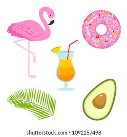 Summer icons. flamingo and drink, avocado and tropical palm. Fun sticker for Girl, fashion cute patch, badge, pin. Collection different elements for notebook. Vector trendy illustration.