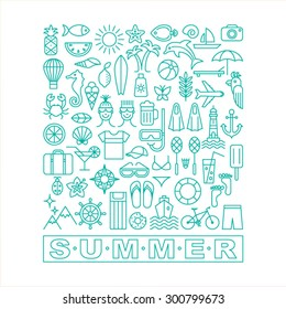 Summer icons. Linear style. Vector illustration.