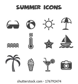 summer icons, mono vector symbols