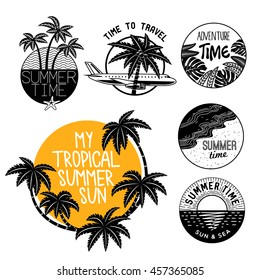 Summer icons on holiday, summer, beach and sea, vector graphic art shape, retro vintage style badge design logo, illustration isolated on white background.