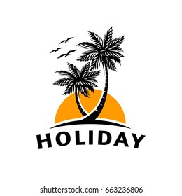 Summer icons on holiday, summer, beach and sea, vector graphic art shape, retro vintage design logo, illustration isolated on white background.
