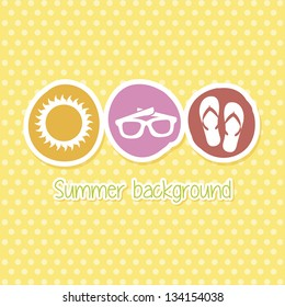 summer icons over yellow background. vector illustration