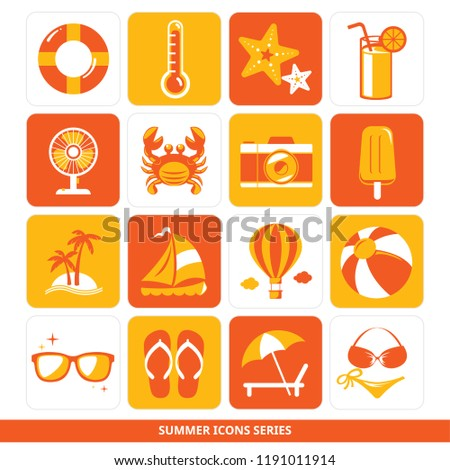 82538cdc7a8f Summer Icons Series Lifebuoy Thermometer Sea Stock Vector (Royalty ...