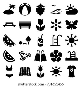 Summer icons. set of 25 editable filled summer icons such as butterfly, sun, table, tulip, soda, flower, bench, watermelon, swimming pool, football uniform, flippers