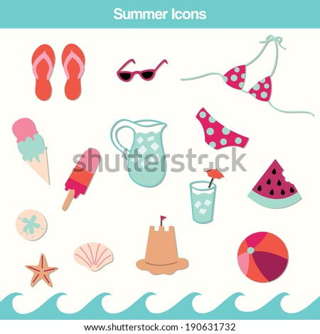 5077053079f5 Summer Icons Set Flip Flops Ice Stock Vector (Royalty Free ...