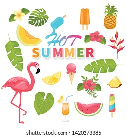 summer icons set, ice cream, drinks, palm leaves, fruits and flamingo. Bright summertime poster. Collection of scrapbooking elements for beach party.