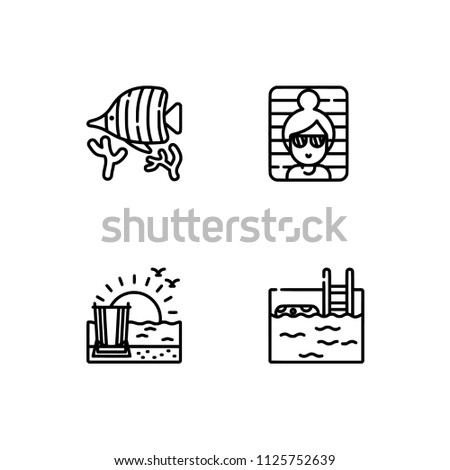 Summer Icons Set Outline Holiday 2018 Stock Vector (Royalty