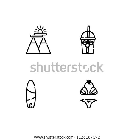 Summer Icons Set Outline Holiday 2018 Stock Vector (Royalty Free