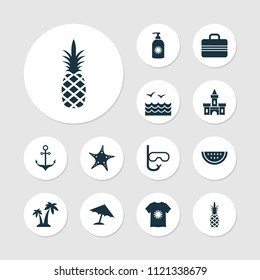 Summer icons set with swimming mask, starfish, sea and other ananas elements. Isolated vector illustration summer icons.