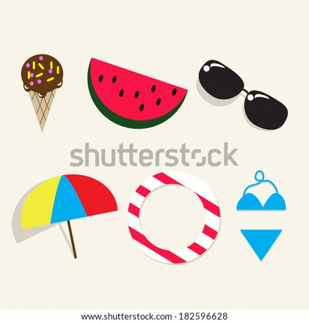e52cb77998d1 Summer Icons Sign Ice Cream Watermelonsunglasses Stock Vector ...