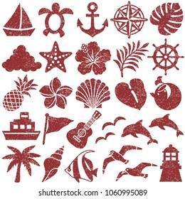summer icons. stamp set.