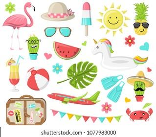 Summer icons symbols vector set