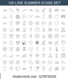 summer icons. Trendy 100 summer icons. Contain icons such as sun, beetle, heart flower, booty fitness, cocktail, golf putter, sun rise, peach. summer icon for web and mobile.