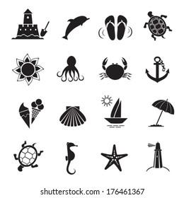Summer icons. Vector of black color.  EPS-10 (non transparent elements,non gradient).