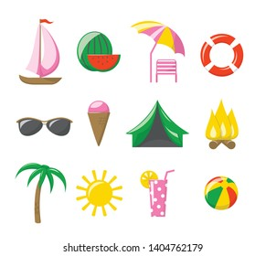 Summer icons. Vector set of 12 colored flat icons