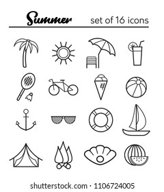 Summer icons. Vector set of 16 outline icons
