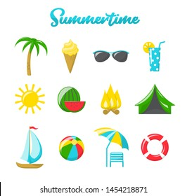 Summer icons. Vector set of cartoon flat icons