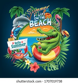 Summer illustration with animals in tropical on beach.