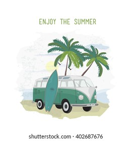 Summer illustration of beach with palm trees, retro bus and surf bord. Summer print.