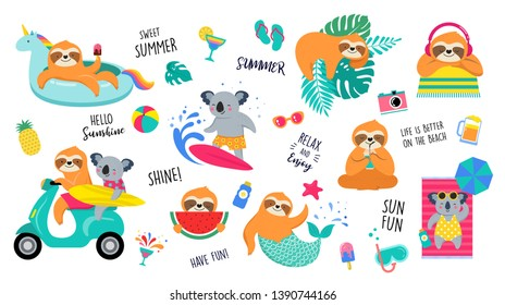 Summer illustration with cute characters of koalas and sloths, having fun. Pool, sea and beach summer activities, concept vector illustrations