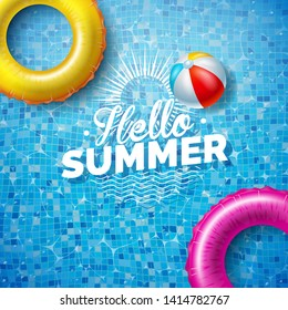 Summer Illustration with Float on Water in the Tiled Pool Background. Vector Summer Holiday Design Template for Banner, Flyer, Invitation, Brochure, Poster or Greeting Card.