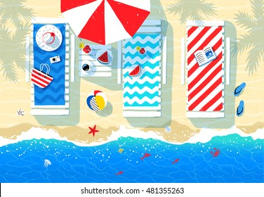 Summer illustration of sun beds, parasol and seaside accessories on beach sand background with sea surf.