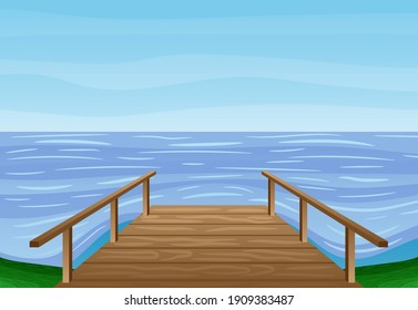 Summer illustration with wooden bridge by the water.
