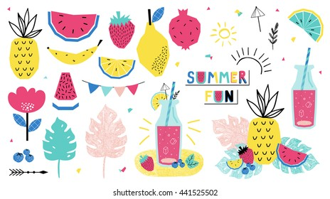 Summer individual elements. Watermelon, strawberry, lemonade and other fruits. Vector illustration.