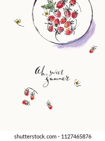 Summer ink and watercolor stain illustration. Wild strawberries on a plate top view. Hand lettering ah, sweet summer. Nice background for greeting cards, organic products and calendars.