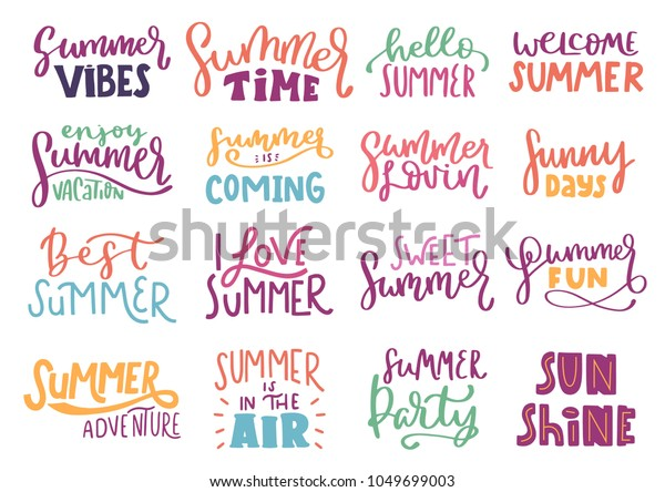 Summer Inspiration Quotes Lettering Composition Phrases