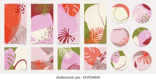 summer Insta story templates and highlights covers vector set. Social media background design with floral and tropical leaf and colorful textures. Abstract minimal trendy style wallpaper.