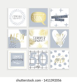 Summer Instagram business, fashion, brand ad templates collection for posts and stories advertising.  Social media trends. Textured, patterns, background. Soft pale blue pastel color palette. Vector
