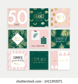 Summer Instagram business, fashion, brand ad templates collection for posts and stories advertising.  Social media trends. Textured gold emerald green pink palette, patterns background. Vector