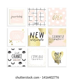Summer Instagram business, fashion, brand ad templates collection for posts and stories advertising. Social media trends. Textured background. Pale rose, pink gold white color palette. Vector