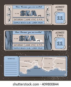 Summer Invitation Template. Ticket to a sea party or celebration with road map
