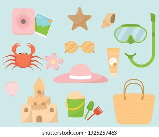 Summer items. Camera, sunglasses, sunscreen, beach bag, snorkeling mask and snorkel, shells, sun hat, crab, sand castle, flower, sand bucket, sand scoop and rake, starfish. Vector illustration.