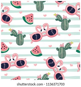 Summer items seamless pattern. Sunglasses, cactus, watermelon vector illustration.Cute repeat pattern for kids.