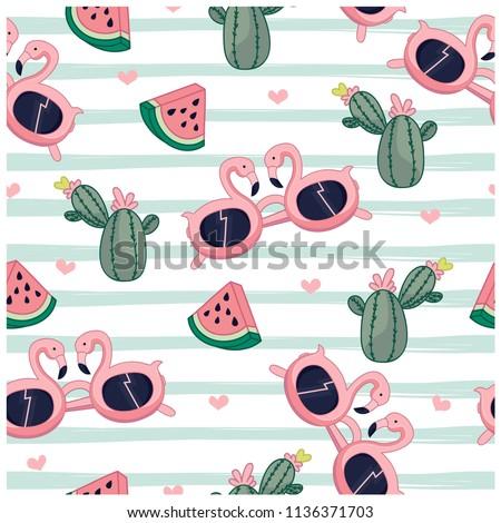 acde2eb9cf Summer Items Seamless Pattern Sunglasses Cactus Stock Vector ...