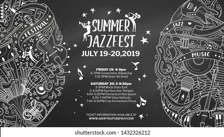 Summer jazz fest chalk outline template with text space. Blues evening advertisement poster layout. Singers and famous artists concert announcement. Retro and modern musical instruments chalk line art