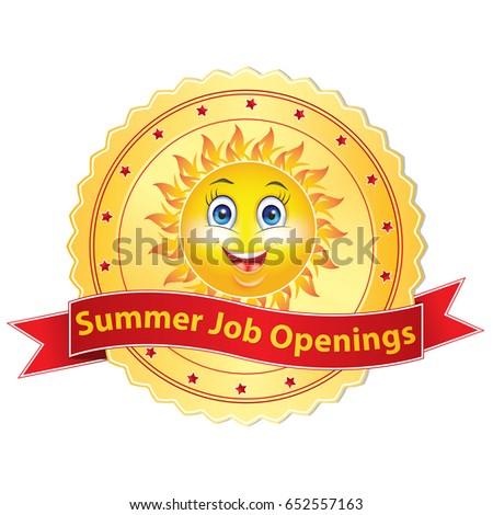 Summer Job Openings Printable Sticker Label Stock Vector