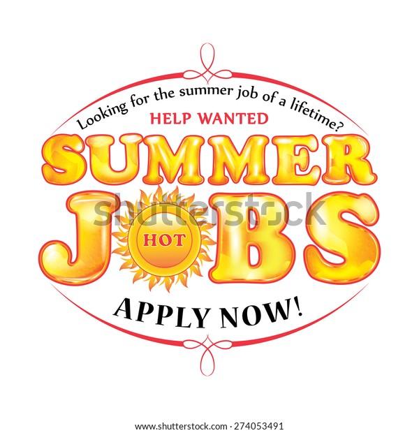 Summer Jobs Offer Sticker Print Hot Stock Vector (Royalty
