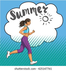 Summer jogging, fitness girl running. Pop art retro comic style stock vector illustration